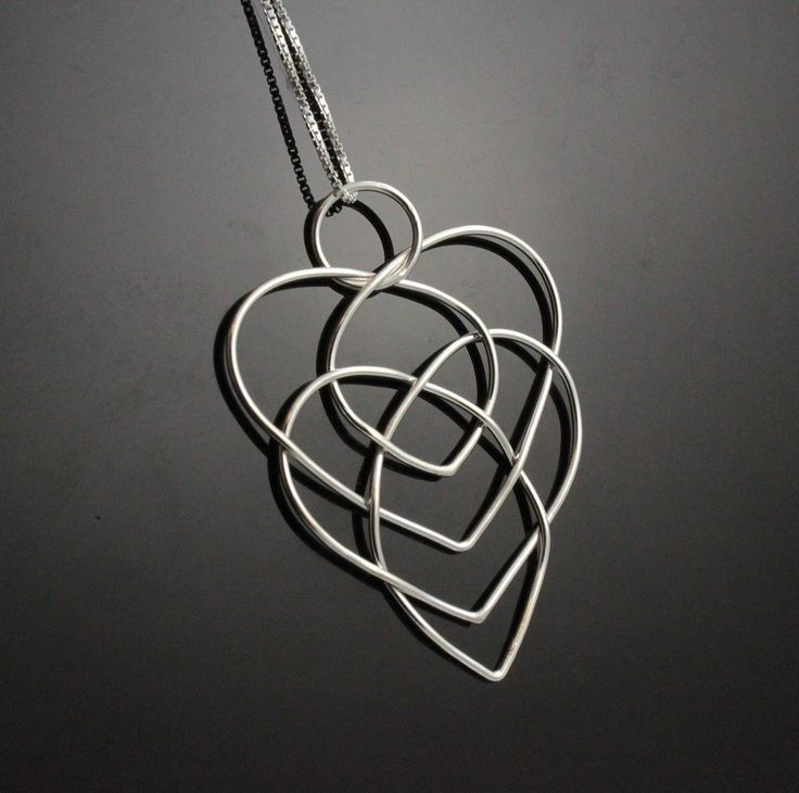 Celtic motherhood knot necklace. Sterling Silver heart necklace Unique gift for mom, grandma. Bold necklace. Infinity knot necklace.