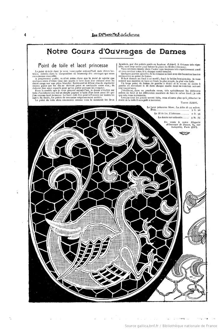 """Point de toile et lacet princesse Notre cours d'ouvrages de dames. Les Dimanches de la femme : supplément de la """"Mode du jour""""  1923/03/25 (A2,N55)"""