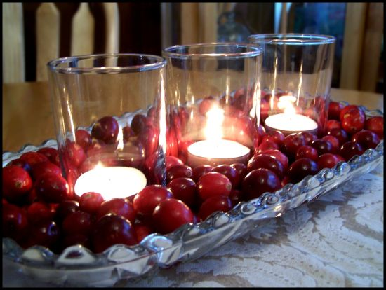 Thanksgiving or Christmas Centerpiece Idea – Decorating with Cranberries