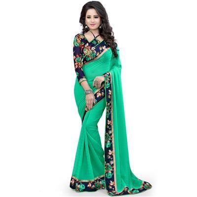 Buy Saiveera Popular New Rama Flower printd Daily Wear Georgette Festival Wear Saree/sari by Saiveera Fashion, on Paytm, Price: Rs.1099?utm_medium=pintrest #Manufacturer #Embroidery  #Wholesaler  #Retailar  #Embroidery #Salwar Suit #Cotton,Fancy, Kurtis #Printed Saree #ChanderiCotton,Cotton Dress Material