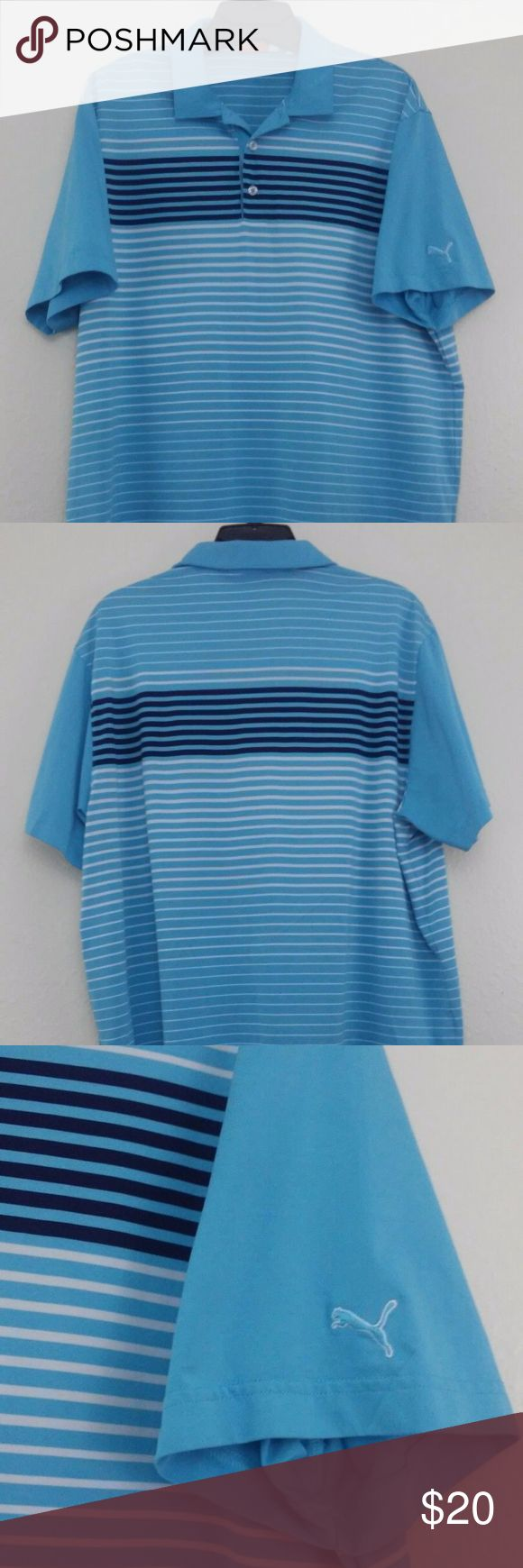 """PUMA SPORT LIFESTYLE COLLECTION-Golf-Polo Sz XL PUMA SPORT LIFESTYLE COLLECTION Golf Polo Shirt  Style Wicking Dry Cell  Size XL  PUMA Lifestyle Dry Cell Mens Golf Polo Shirt  Mens Size XL  PRO SERIES ATHLETIC FIT  Light Blue with Black /White Stripes  NEW WITHOUT TAGS  We have a bunch of NEW WITHOUT TAGS POLO SHIRTS WE WILL BE LISTING   Approximate Measurements Flat Lay  UNDERARM TO UNDERARM 23.5""""  Length from under black collar to bottom hem 29.5 """"   We do accept REASONABLE offers Puma…"""