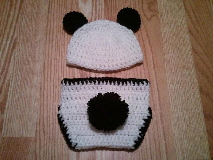 Free Crochet Baby Panda Hat Pattern : Baby Panda Bear Hat & Diaper Cover Set - Crochet Baby ...