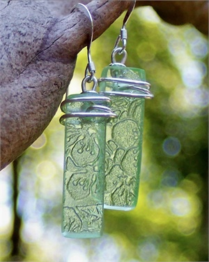Green Depression Era Glass Earrings - handcut from reclaimed antique glass