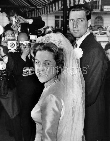 Elizabeth Abel Smith, descendent of Queen Victoria on her mother's side (Lady May Cambridge), wearing a gorgeous diamond belle epoque tiara, when she married Peter Ronald Wise on 29th April 1965. The tiara features a series of diamond festoon motifs, with smaller diamond spacers.