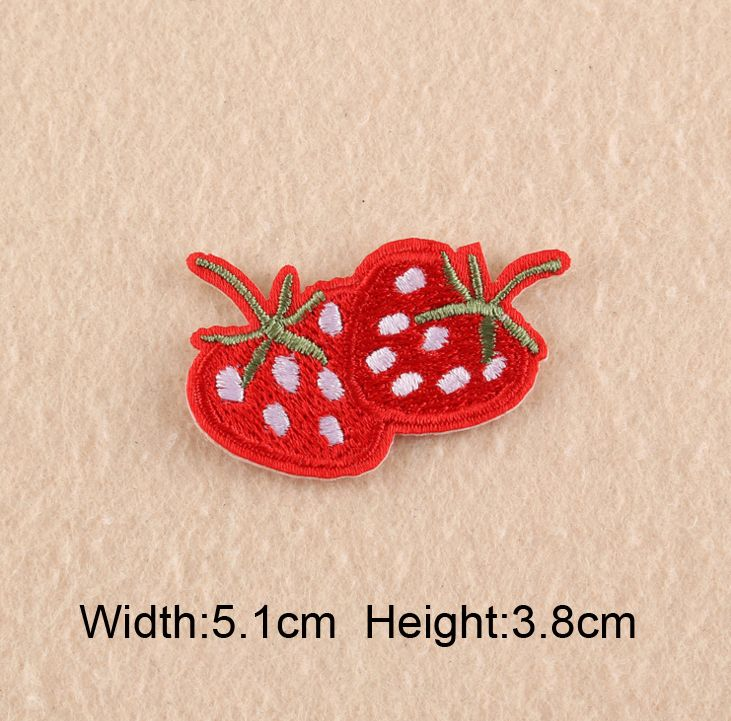 10 pcs/lot Cartoon Cactus Bee Strawberry Embroidered Iron-On Patches For Clothes Garment Applique DIY Accessory