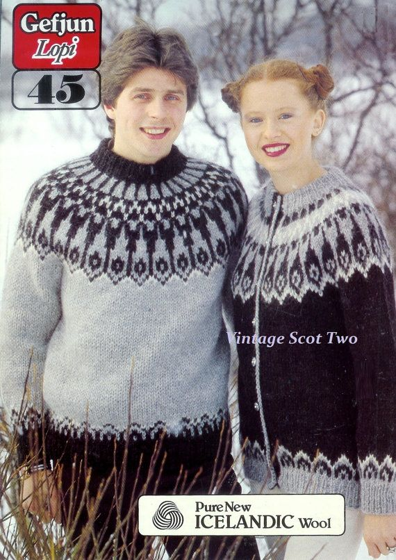 PDF Lopi 45 -Nordic Sweater & cardigan 32-46 ins Adult Unisex Vintage Knitting Patterns  NB: There are two versions of this PDF included in this listing. One is a smaller file, a reduced PDF of the original PDF for swift download. Both are identical in content one will download quicker. If this is good for you there is no need to download the larger file. Larger file only difference, it has not been reduced.   U.S. YARN EQUIVELENT Please check the tension/gauge provided in the listing…