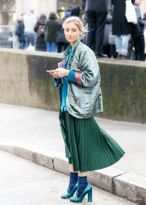 greens - pleated skirt •• #streetstyle