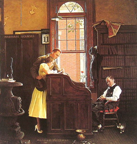 Norman Rockwell, signing the Marriage License, one of my favorite Norman Rockwell paintings.