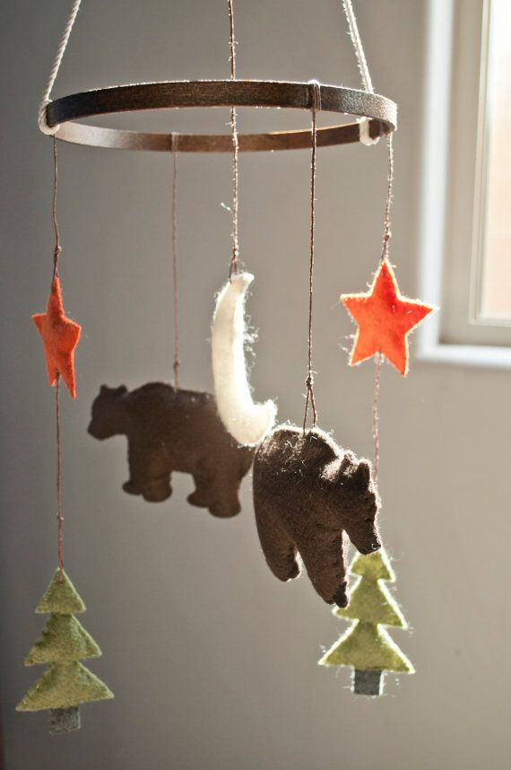 A beautiful handmade mobile that is the perfect addition to any Woodland themed nursery. All mobiles are hand stitched and made to order for your little one. Each piece is drawn and designed by TwoEggsNesting, then made from felt and filled with polyester stuffing.  Colors: Colors shown in picture are as follows- -Moon: Cream -Stars: Burnt Orange -Trees: Grey Trunks, Olive Tree -Bear: Dark Brown  *Custom colors available upon request. Please make note of colors wanted in the notes to…