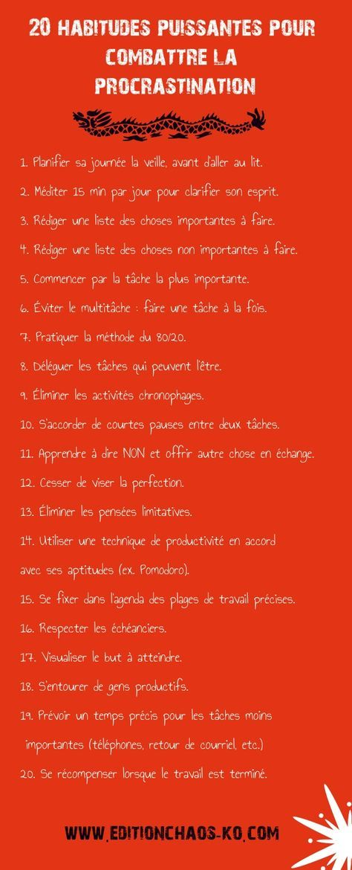 Un heureux chemin...: 20 habitudes puissantes pour combattre la procrastination
