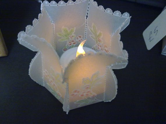 Beautiful handmade parchment craft LED tealight holder,  ideal for weddings, parties,Christmas,New Year, Pergamano