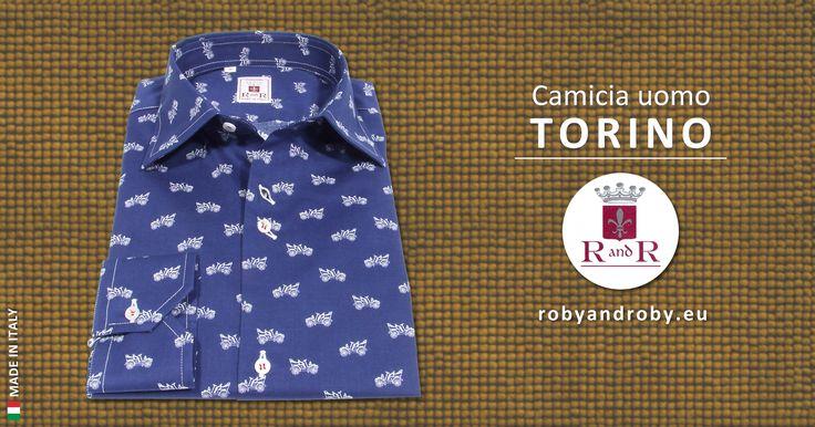 #CamiciaUomo TORINO #RobyandRoby.  Camicia blu con motivo bianco, colletto classico Italiano, in #tutteletaglie anche #taglieforti #madeinItaly.