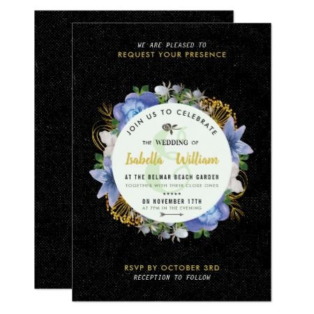 Blue Gold Hydrangeas Floral Save the Date Wedding Card - click to get yours right now!