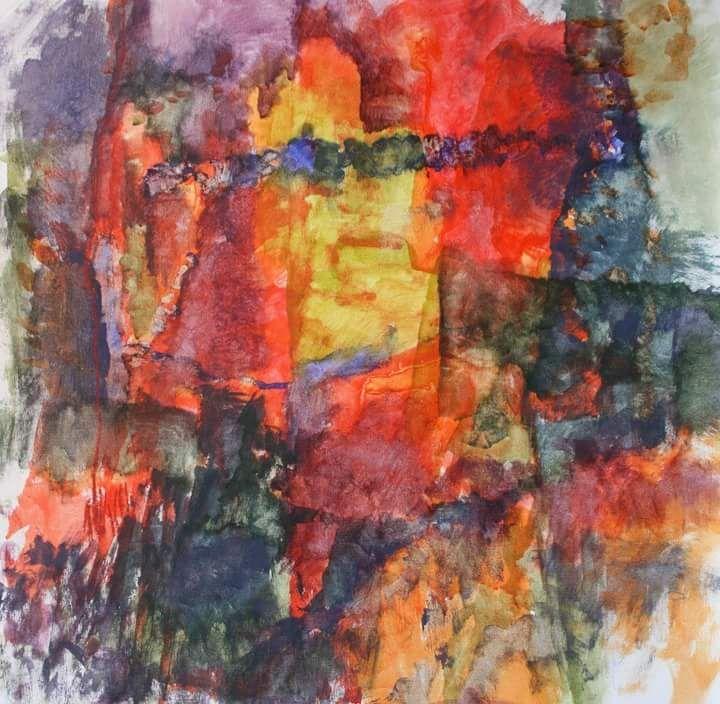 Abstract painting in tempera/Abstrakt målning av Ingela Lindgren/lifeartcommunication.com