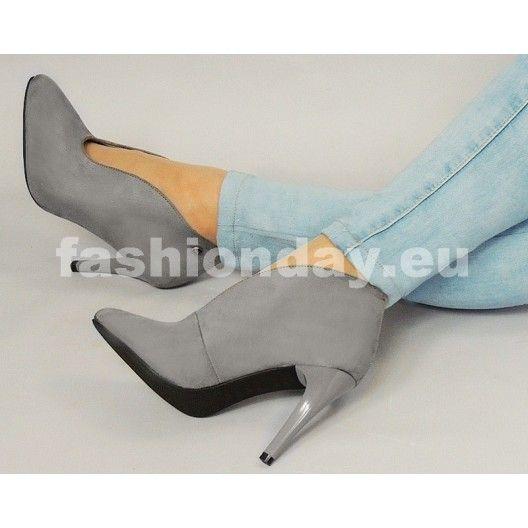 Dámska obuv sivej farby na podpätku - fashionday.eu
