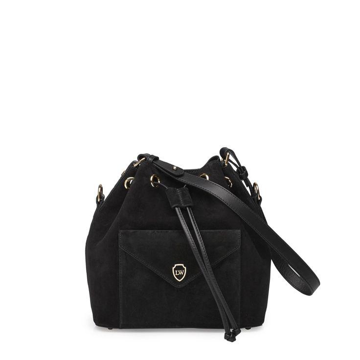'Morgan' bucket bag in black suede! #leowulff #bag #bucket