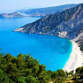 Myrtos beach in Kefalonia ( Photo by Dominic Sotirescu )