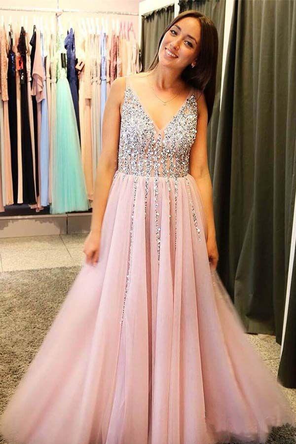 A-Line V-Neck Tulle Backless Prom Dress with Sequins Appliques PG655  pink 7dc841c1d