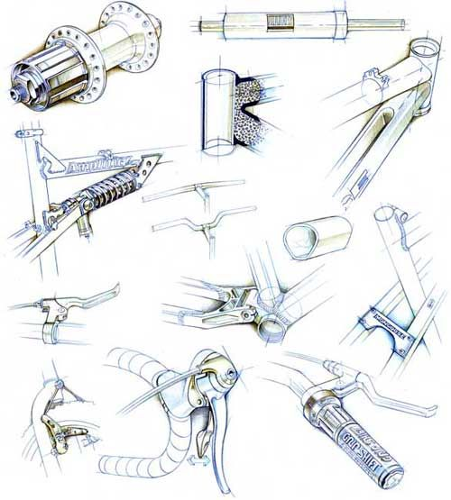 Sketch style technical illustrations