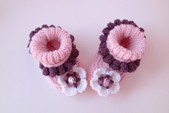 Pink Baby Girl Booties Baby Booties Knitted by LavenderBlossoms, $19.00