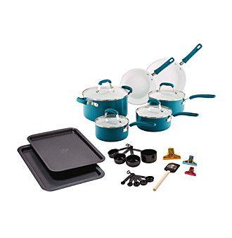 Guy Fieri 25-pc. Turquoise Ceramic Cookware Set