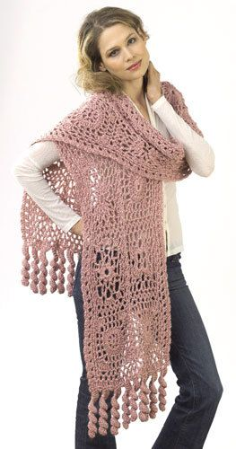 Motif Lace Wrap Crochet Pattern from Caron Yarn   FaveCrafts.com
