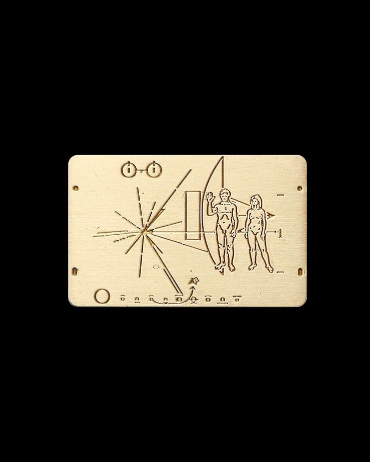 Pioneer Plaque pin from @itisdonuts  Designed by Carl Sagan and placed aboard the Pioneer 10 and Pioneer 11 in the hopes that Alien life forms would find it and be able to find Earth or at least have a brief understanding of humans.  Buy it through their link in bio!