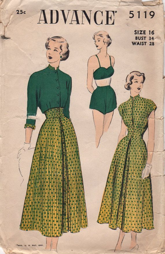 Advance 5119 1940s Misses Skirt  with Built Up Belt Mandarin Collar Blouse Bra and Shorts womens vintage sewing pattern by mbchills