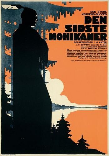 Last of the Mohicans, Danish movie poster, 1920. Sven Brasch (Danish, 1886-1970).