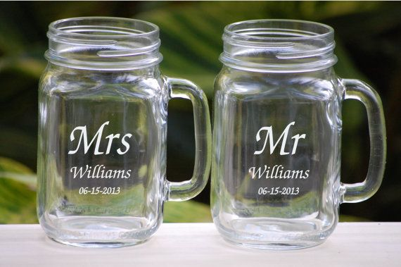 Etched Mason Jar Wedding Glassware with Handle, Mr. and Mrs. Custom Fonts Left or Right Handle on Etsy, $24.50