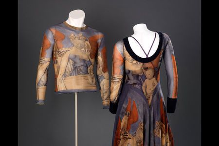 * Woman's dress and man's T shirt designed by Jean Paul Gaultier, Textile based on painting Virgin and Child Surrounded by Angels by Jean Fouquet, Dress and T shirt produced by Fuzzi Spa. Photo silk-screened nylon machine knit. Designed in Paris, France; made in Italy, 1994