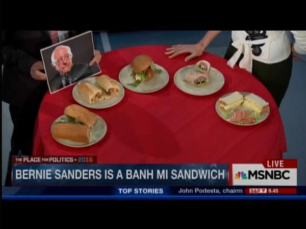MSNBC hosted a sandwich maker who has paired 2016 candidates with their matching sandwich.