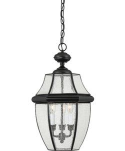 Quoizel Newbury 3-Light Outdoor Pendant Light Mystic Black NY1912K