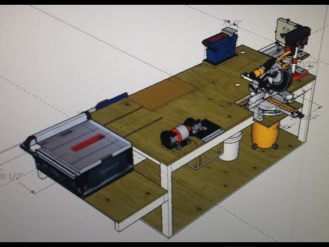 Ultimate Micro shop. Making the most of a small shop. This design allows maximum capacity for each machine. YouTube Chris Harpster workbench,  rolling,  fold out tools, power tool friendly bench,  woodworking, machine mount