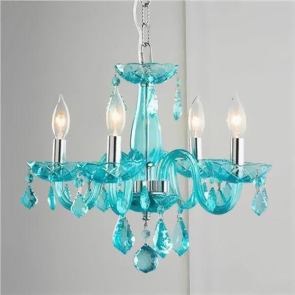 Glamorous 4-light Full Lead Turquoise Blue Crystal Chandelier