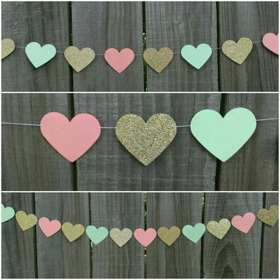 Peach Mint Green and Gold Garland Coral Paper by CarismaticDesigns