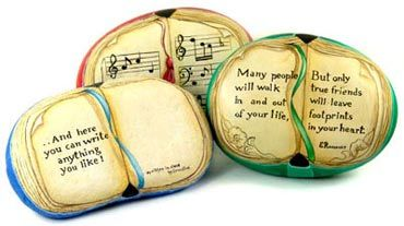 I do something every single day that helps me to stop and look around, and that helps me to pay attention. I write a small stone. ~Fiona Robyn http://redroom.com/member/fiona-robyn/blog/how-to-pay-attention    pic: Written stone. Painted Book Rocks