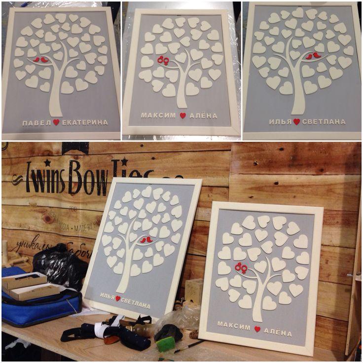 """Наше потрясающее """"дерево пожеланий"""" на свадьбу пользуется небывалым спросом. За один день мы изготовили 3 разных дерева. Вы можете предлагать свои варианты исполнения и цветовую гамму. Срок изготовления от 1 дня. ( но при желании и за несколько часов ) стоимость от 2800 руб. Разные размеры и количество сердец. // #деревопожеланий #деревонасвадьбу #идеянасвадьбу #свадьба #weddingidias #guestbook #weddingbook #twinswood #twinsbowties #twins"""