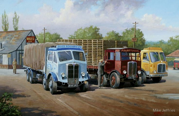 Max's transport cafe. by Mike Jeffries - If there is any better sight to the eyes of a lorry enthusiasts than an AEC eight-wheeler it is a trio of AEC Mammoth Major eight-wheelers and the venue for this line-up is the famous Max's cafe on the old A3. Nearest is a Mk III Mammoth Major of Silver Roadways, dating from about 1950, next in line is a pre-war Mk II of Hartshorne's and finally a 1962 Mk V in the livery of Marshall Refractories. These maximum weight lorries were the mainstay of long…