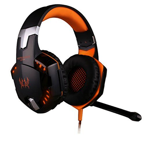 Cheap [Latest Version Gaming Headset for PS4] KingTop EACH G2000 Over Ear Stereo Gaming Headset with Mic Bass LED Light Volume Control for PS4 PC Mobile Phones (Orange amp