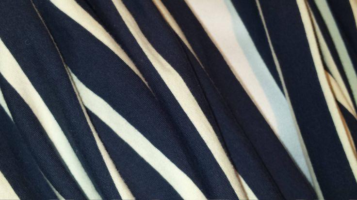 Navy/cream striped jersey shawl scarf by Scarfgoroundboutique on Etsy