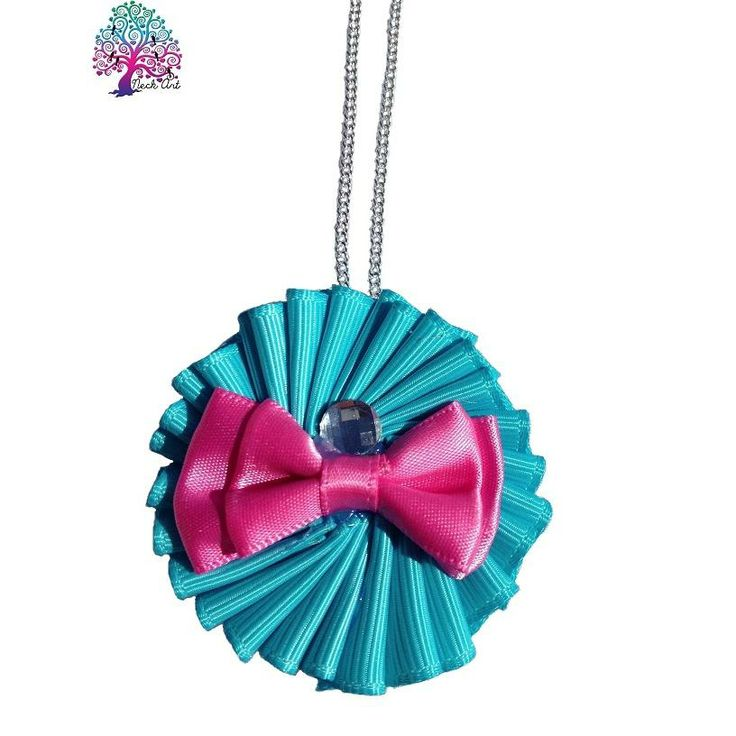 $11 Ribbon Pendant for Girls Blue with Pink Bow by NeckArt on Handmade Australia