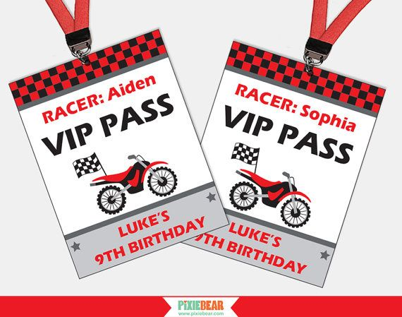 Dirt Bike Party VIP Passes by PixieBearParty on Etsy #DirtBikeParty #MotorcycleBirthday