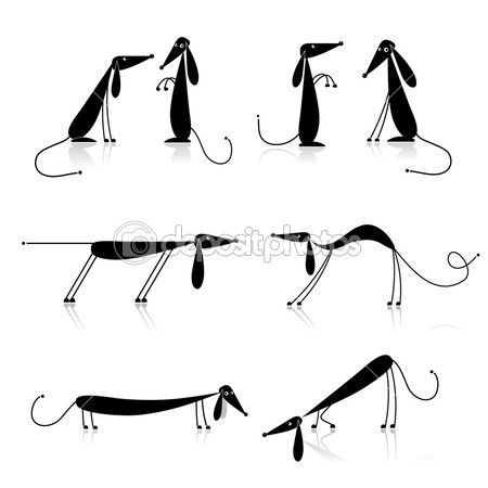 Funny black dogs silhouette, collection for your design — Stockvectorbeeld