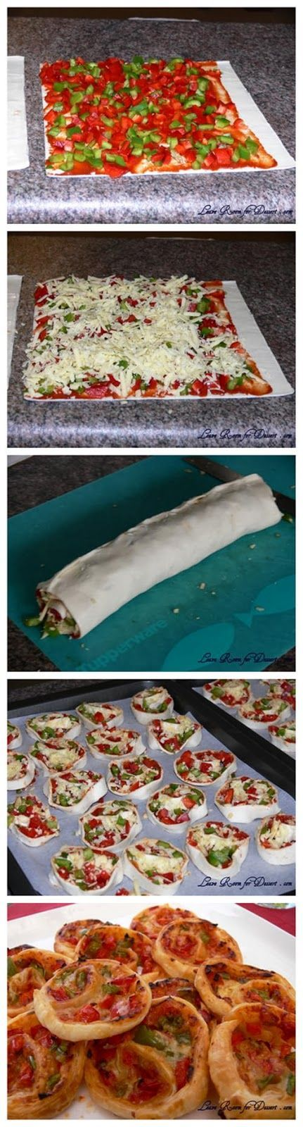 Pizza Wheels (make a very simple pizza: Ingredients: 4 puff pastry dough (roll puff pastry or frame with four combine the puff pastry sheets, roller can be made in all a bit off) 6 tablespoons tomato paste 1 red pepper, chopped 1 green pepper, chopped grated cheese