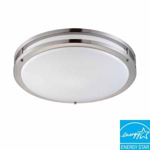 Hampton Bay 2 Light Brushed Nickel Fluorescent Ceiling Flushmount Ceiling Lights For Kitchenlaundry Room