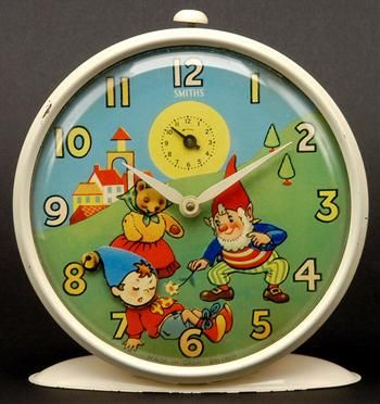 We had this Noddy Clock on our kitchen mantlepiece. Years later, I became obsessed with finding another one of the same design and I acquired one after putting an ad in the paper (no ebay then). It's so cute, Noddy's head nods along with the rhythm of the tick.