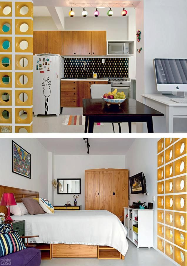 ideias decoracao kitnet : ideias decoracao kitnet:Decoração de kitnet, sala, cozinha e homeoffice numa só peça