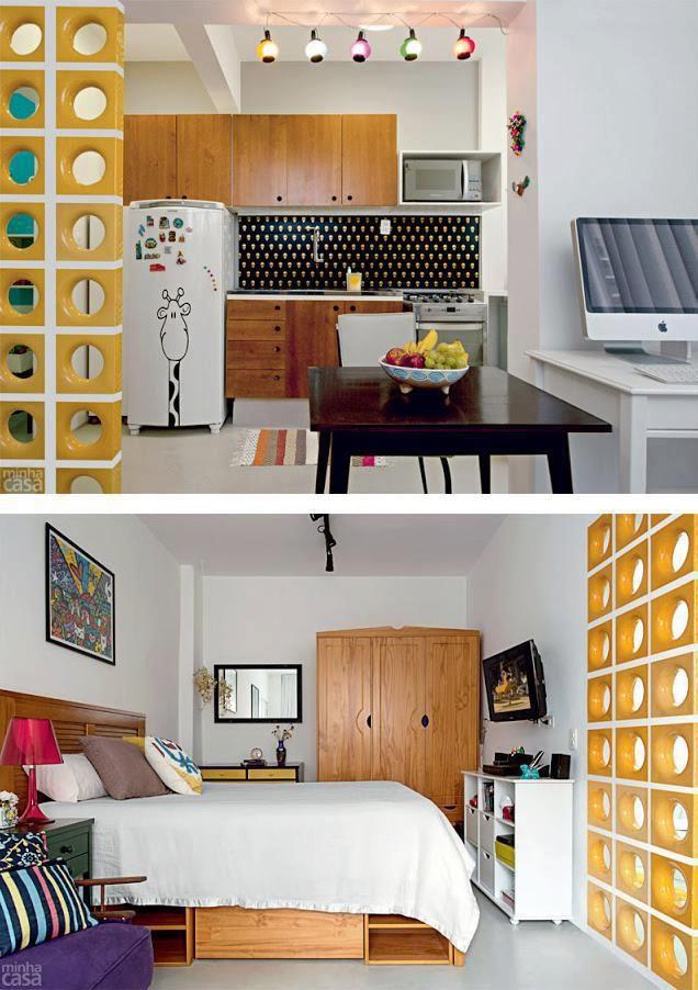 decoracao sala kitnet:Decoração de kitnet, sala, cozinha e homeoffice numa só peça