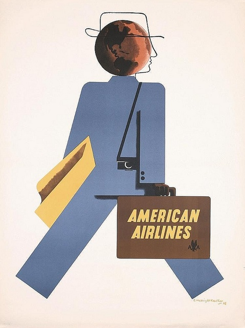 phasesphrasesphotos:    American Airlines  Edward McKnight KauffeVintage Posters, Edward Mcknight, Picture-Black Posters, Mcknight Kauffer, Airlines Posters, Aa Posters, Vintage Travel, Travel Posters, American Airlines